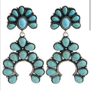 Turquoise & Silver Western Style Earrings